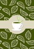 Green tea package label. Beige leaves on green background vector with green tea label  on white tea cup Royalty Free Stock Photography
