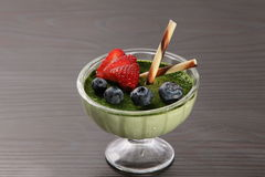 Green tea Panna cotta royalty free stock photography