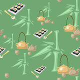 Green Tea Pattern. Seamless  pattern with sushi, teacups, pots and kettles Stock Image
