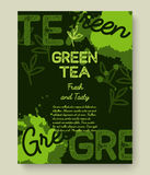 Green tea poster or banner typography design. Creative illustration with liquid tea splashes Royalty Free Stock Images