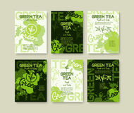 Green tea poster or banners typography design. Creative illustrations with liquid tea splashes Royalty Free Stock Images