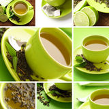 Green tea pot collage Stock Photo
