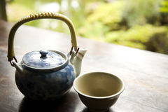 Green Tea in Pot and Ready to Pour Stock Image
