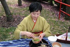 Green tea preparation. Japanese woman prepares traditional Ippodo green tea, during the Japanese festival on Roosevelt Island Royalty Free Stock Photography