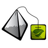 Green tea pyramid bag icon Stock Photography
