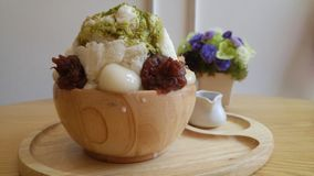Green tea red bean bingsu desert Stock Images
