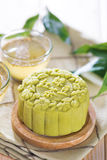 Green tea with red bean paste mooncake. Traditional Chinese mid autumn festival food. Snowy skin mooncakes.  The Chinese words on the mooncakes means green tea Royalty Free Stock Photography