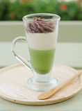 Green tea and red bean pudding Royalty Free Stock Photo