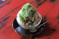 Green tea and red beans Kakigori, Royalty Free Stock Image