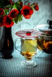 Green Tea and Poppies royalty free stock image