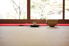 Green tea and refreshments. Japanese tea ceremony, Green tea and refreshments. This is an important ritual, for the reception guests. In Kyoto Stock Images