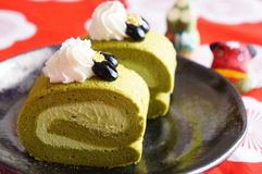 Green tea roll cake, Japanese dessert Royalty Free Stock Images