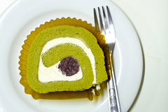 Green tea roll cake Royalty Free Stock Image