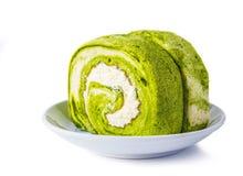 Green tea roll cake Stock Photography