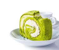 Green tea roll cake Royalty Free Stock Photography