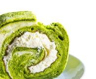 Green tea roll cake Stock Photos