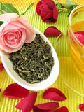Green tea with rose flowers Royalty Free Stock Images