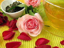 Green tea with rose flowers Stock Image