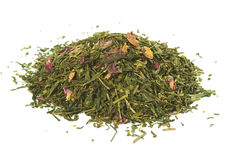 Green  tea with rose petals,  loose , solated. Green  tea with rose petals,  loose leaf, isolated Stock Image