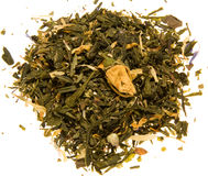 Green tea with rosebud Royalty Free Stock Image