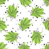 Green tea seamless pattern. Stock Photos