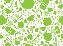 GREEN TEA SEAMLESS PATTERN stock photo