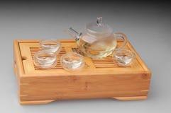 Green tea set. With teapot and cups Stock Photos