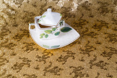 Green tea set with a background Royalty Free Stock Photo