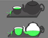 Green Tea Set. Green tea leaves, mug and pot Stock Photo