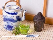 Green tea and shoji window. Green tea and buddha head against a traditional japanese shoji window Royalty Free Stock Photo