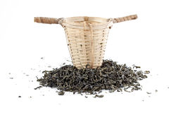 Green tea with sieve Royalty Free Stock Photo
