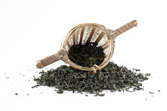 Green tea with sieve. Isolated on white Royalty Free Stock Image