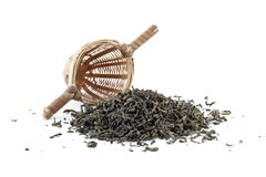 Green tea with sieve Stock Image