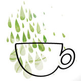 Green Tea. Silhouette of cup with floral tea drops Royalty Free Stock Images