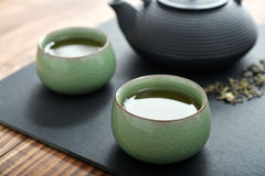 Green tea in a small cups Royalty Free Stock Images