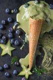 Green tea soft elastic ice cream Stock Photo