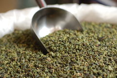 Green tea. Sold by weight in Xiamen's market royalty free stock photos