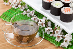 Green tea and sushi maki set Royalty Free Stock Image