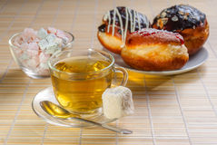 Green tea and sweet dessert Stock Photography
