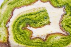 Green Tea Swiss Roll Cake Stock Photos