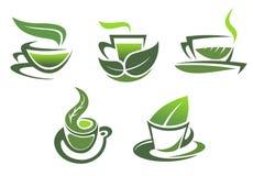 Green tea symbols and emblems Stock Images