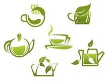 Green tea symbols and icons Royalty Free Stock Photo