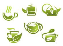 Green tea symbols set Royalty Free Stock Image