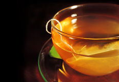 Green tea with tea bag Royalty Free Stock Image