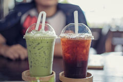 Green tea and tea cool on table Royalty Free Stock Photography
