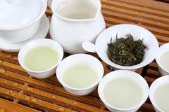 Green tea with tea service Royalty Free Stock Photo