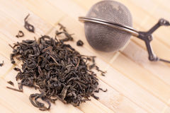 Green tea and tea strainer Royalty Free Stock Images