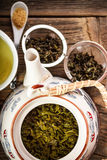 Green tea in teapot Royalty Free Stock Photos