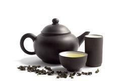 Green tea and teapot Royalty Free Stock Photos
