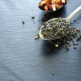 Green tea in a teaspoon Stock Photo